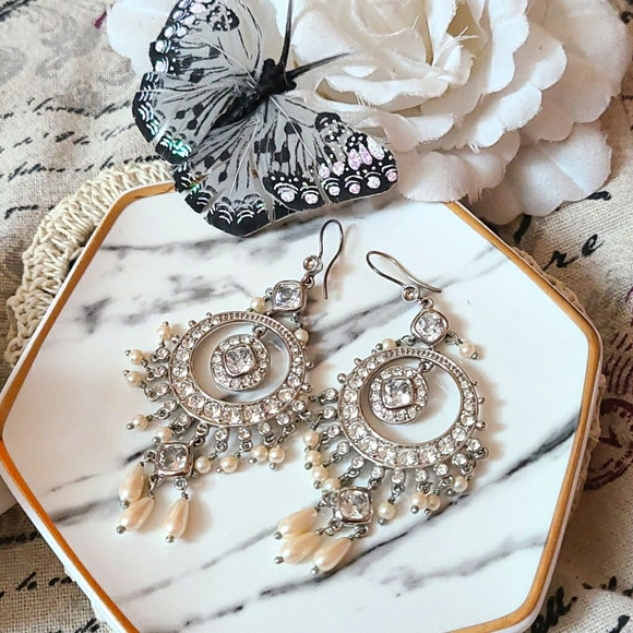 Monet Crystal and Faux Pearl Earrings